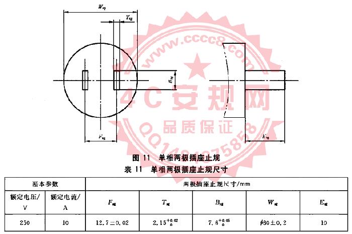 GB1002图11量规 10A单相两极插座止规 GB1002插头量规 国标两插插座止规