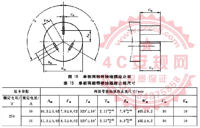 GB1002图15量规 16A单相两极带接地插座止规 GB1002插头量规 国标三插插座止规