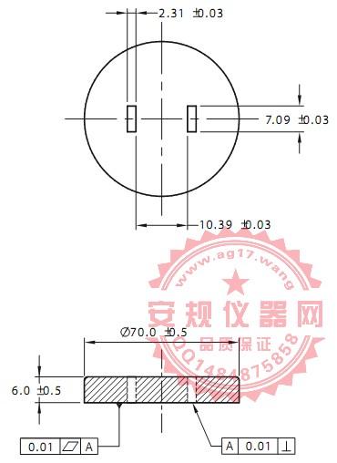 澳洲AS/NZS 3112 图B1两插扁平插脚量规|125V两平行扁平插销插头量规|FIGURE B1-GAUGE FOR TWO-PIN FLAT-PIN 125 V MAX. PLUGS|Figure B1-Gauge