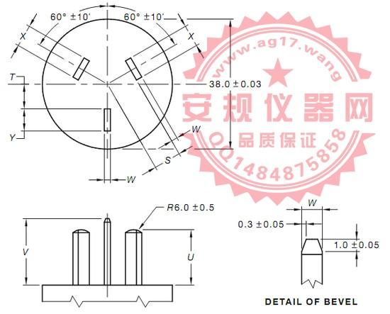 澳洲AS/NZS 3112 图C1正常插入的试验插头|试验指|正常插入的三扁平插销测试插头和正常插入中试验指测试规