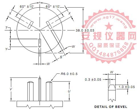 澳洲AS/NZS 3112 图D1非正常插入的三扁平插销测试插头|试验插头| FIGURE D1-THREE-PIN TEST PLUG FOR CHECKING THREE-PIN FLAT PIN 250 V MAX. SOCKET-OUTLETS AGAINST INCORRECT INSERTION OF PLUGS, IN ACCORDANCE WITH CLAUSE 3.8.2|Figure D1-Test plug
