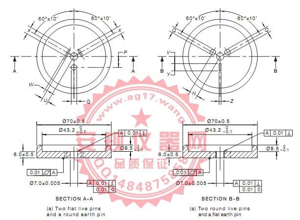 澳洲AS/NZS 3112 图F1插头量规|两扁带电插销和圆形接地插销插头量规|FIGURE F1-GAUGE FOR FLAT AND ROUND PIN PLUGS|Figure F1- PIN PLUGS