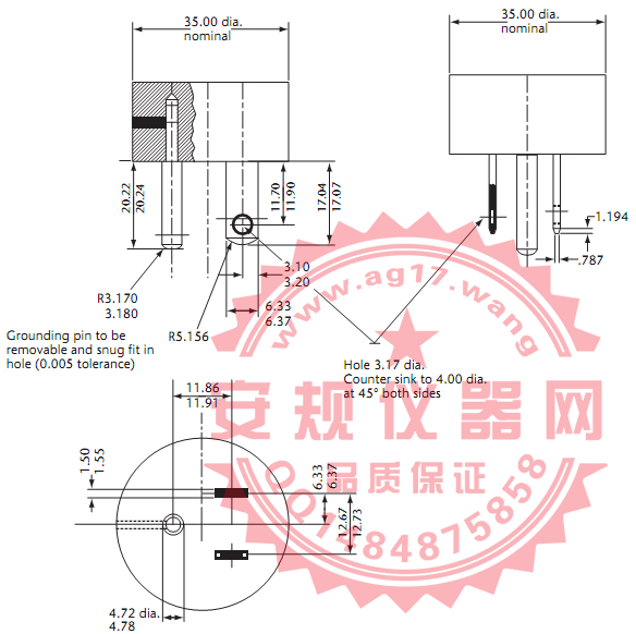CSA C22 No.42图10插座插片保持力量规|插座保持力量规|Gauges for testing receptacles |Figure10 Gauges for testing receptacles of configurations 1-15R, 5-15R, or 5-20R