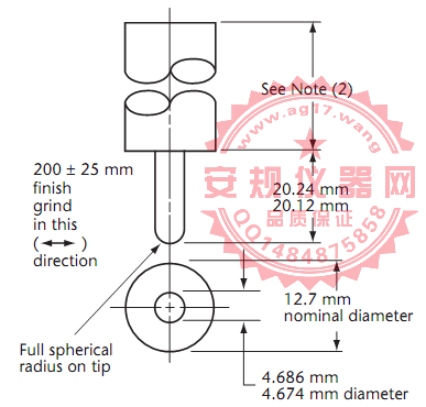 CSA C22 No.42图17接地测试针|测试PIN针|Figure17 Grounding test pin No. 1|Grounding test pin