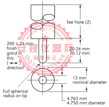 CSA C22 No.42图18接地测试针|113g测试PIN针|Figure18 Grounding test pin No. 2|113g Grounding test pin