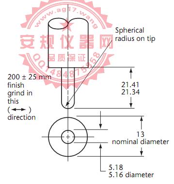 CSA C22 No.42图22医疗等级插座地线孔5.17mm保持力量规|5.17mm大插梢保持力量规|Figure22 Hospital-grade-Oversize grounding pin|OD 5.17mm Grounding pin