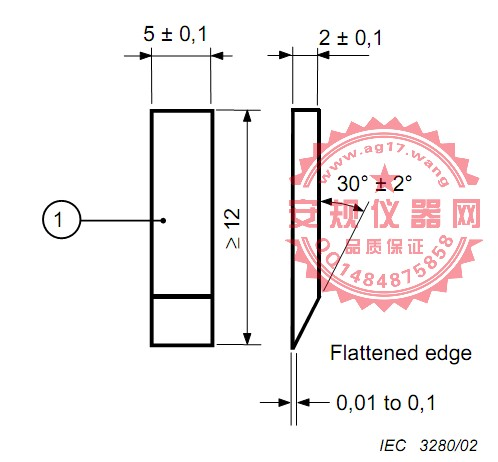 GB/T4207铂金电极 耐电痕化试验电极 漏电起痕电极 IEC60112 Figure 1-Electrode of Tracking test