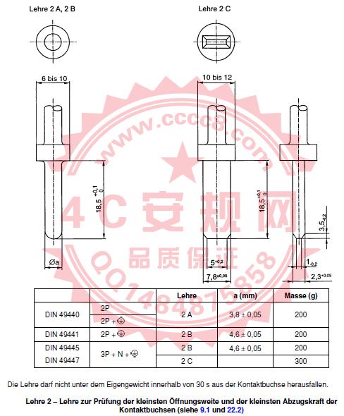 Lehre2量规 VDE0620量规 PM375E VDE0620-1:2013  VDE0620-2-1:2013 触点插孔的最小开口宽度和最少拔出力 VDE0620量具