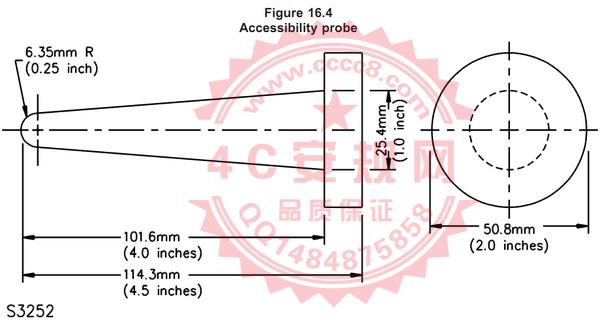 UL1310 Figure16.4|Accessibility probe|S3252|试验指|锥形试验指|试验棒