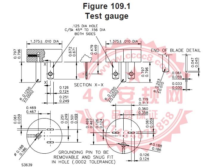 UL498-2012 UL498第109节 UL498保持力量规 3LB量规 15LB量规 插座5-15R保持力 UL插座保持力量规