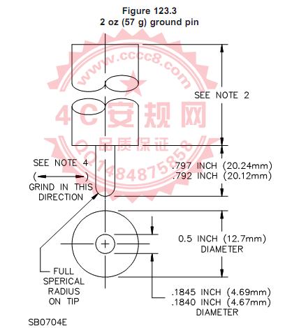 UL498图123.3地线孔57g 拔出力量规|图123.3保持力规|Figure123.3 57g ground pin|Grounding Contact Test Gauge|UL498-2012