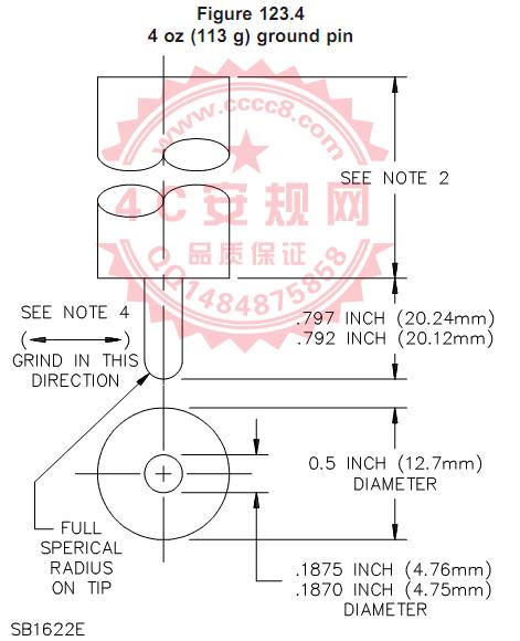 UL498图123.4地线孔113g 拔出力量规|图123.4保持力规|Figure123.4 113g ground pin|Grounding Contact Test Gauge|UL498-2012