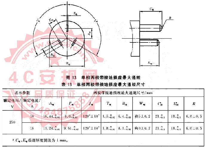 GB1002图13量规 10A单相两极带接地插座最大通规 GB1002插头量规 国标三插插座通规