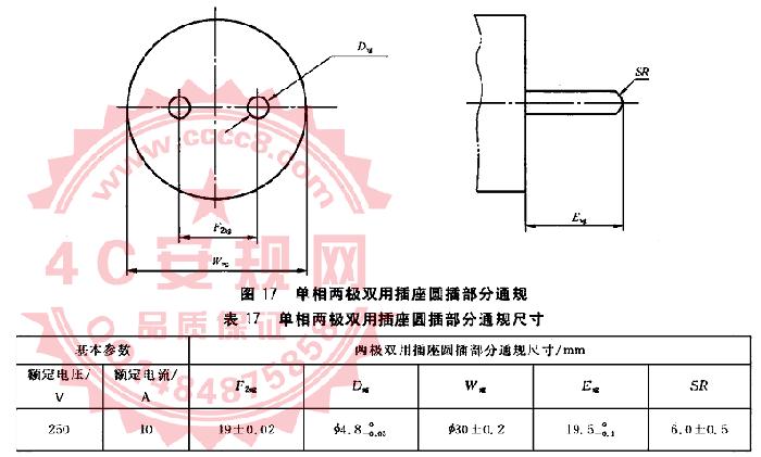 GB1002图17量规 10A单相两极双用圆插部分通规 GB1002插头量规 单相两极双用插座通规