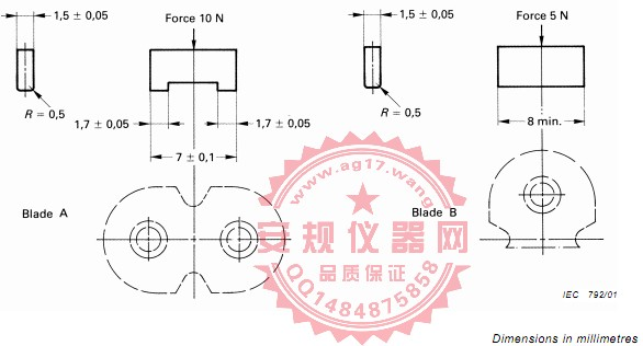 GB17465.1|图22防变形能力的检验片|IEC60320-1|EN60320-1|Figure 22- checking the resistance against of C17