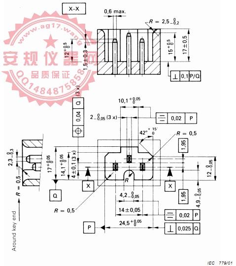 GB17465.1 图9R止规 C13品字尾/C15/C17止规 IEC60320-1 EN60320-1 Figure 9R-C13/ C15/C17 Not-Go gauge