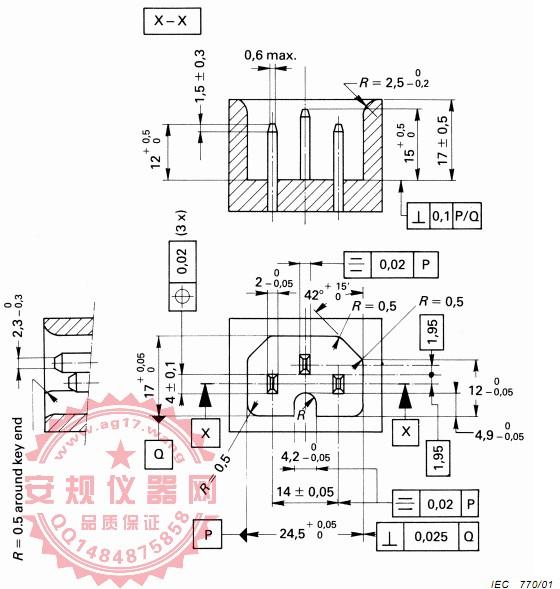 GB17465.1 图9G止规 C13品字尾/C17止规 IEC60320-1 EN60320-1 Figure 9G-C13/C17 Not-Go gauge